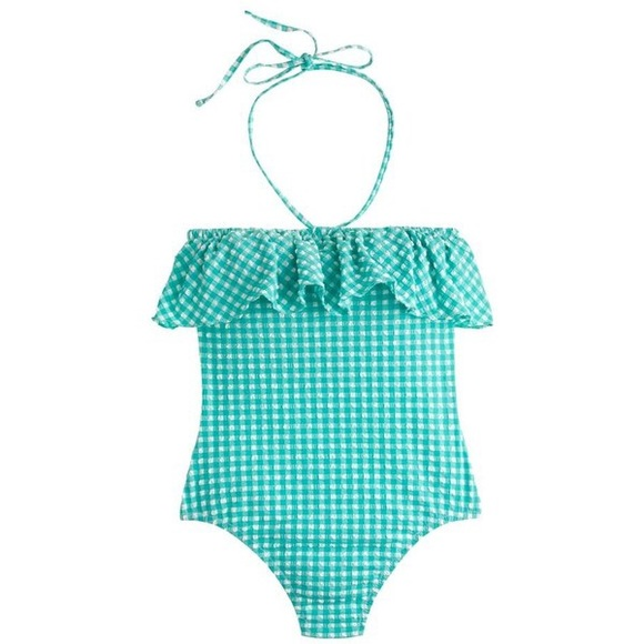 4acdf679bc J. Crew Swim | Ruffle Bandeau 1 Piece Suit In Seersucker | Poshmark